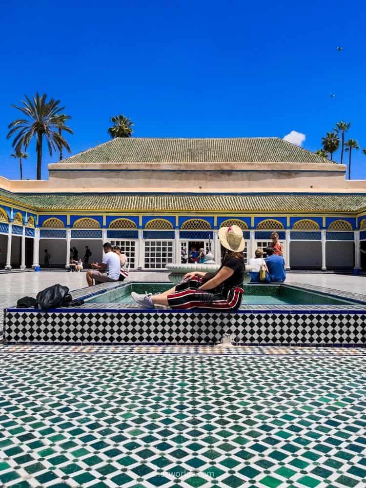 Girl posing at Bahia palace in Marrakech