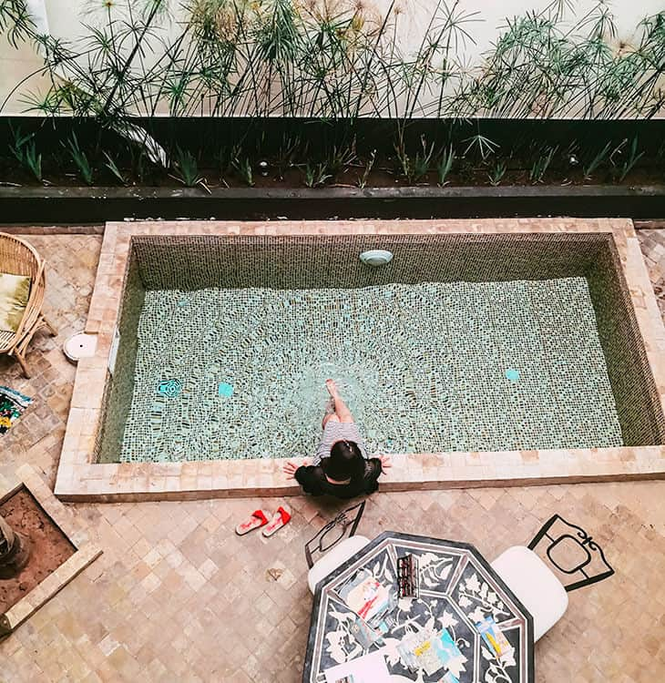 Swimming in riad at Marrakech