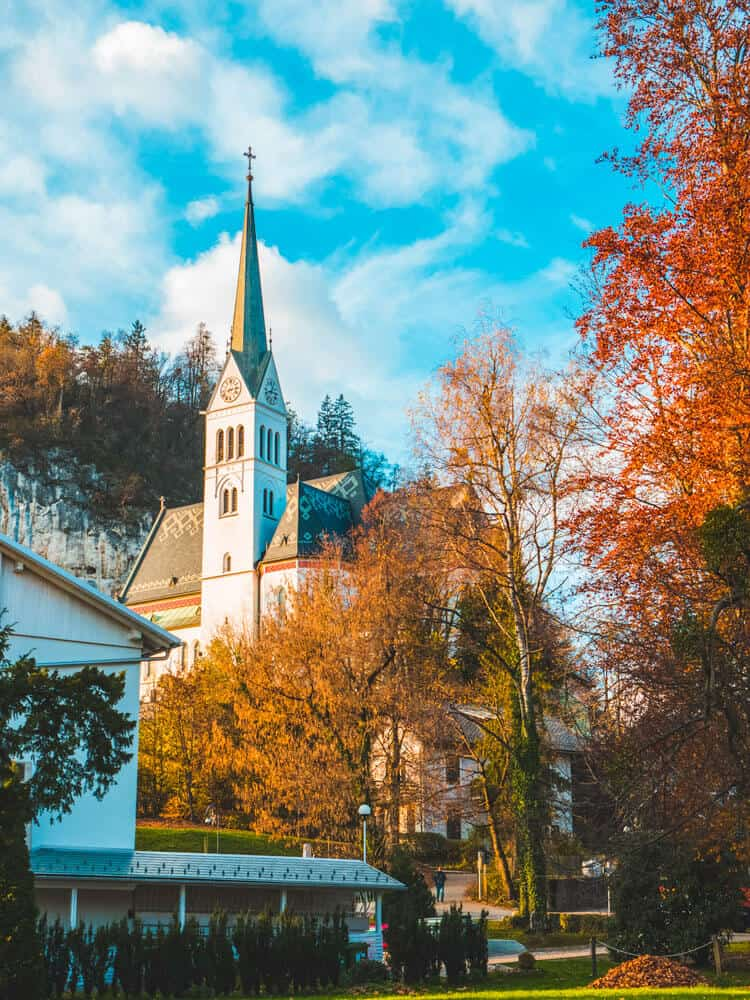View of Bled church in Spring