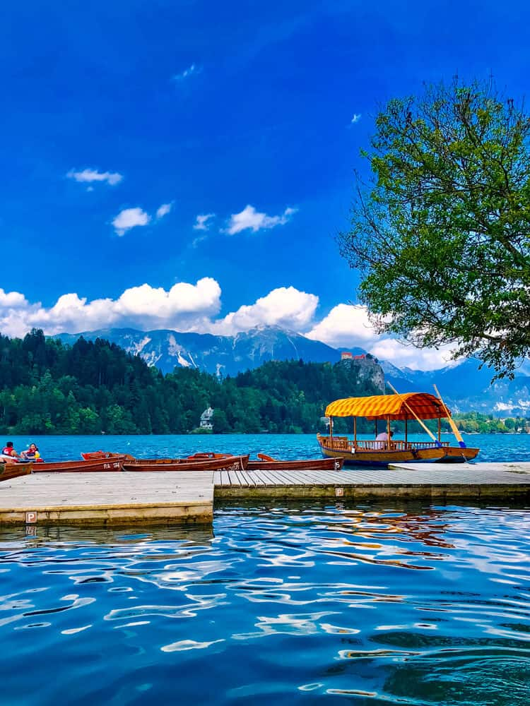 Boats in the middle of the Bled Lake