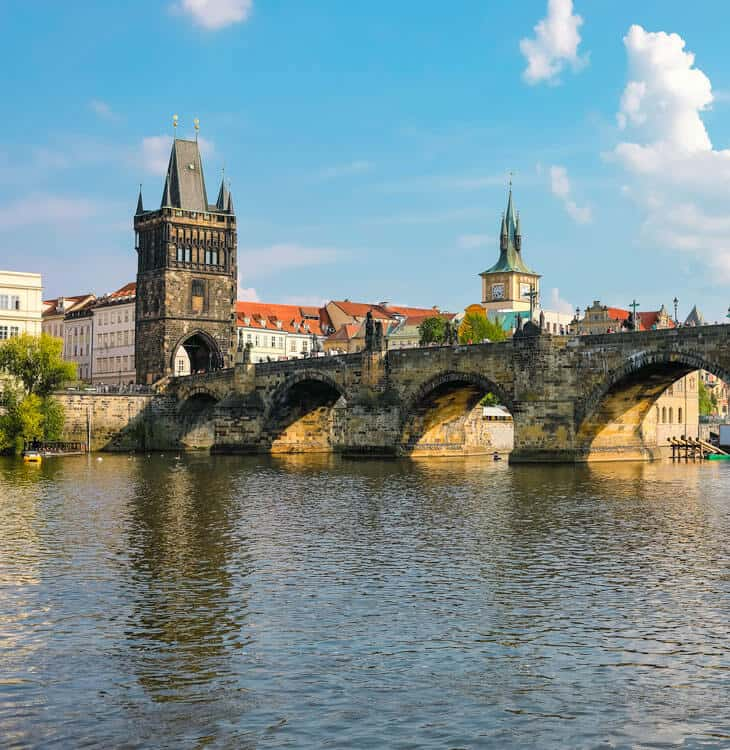 River view of Charles bridge in Prague
