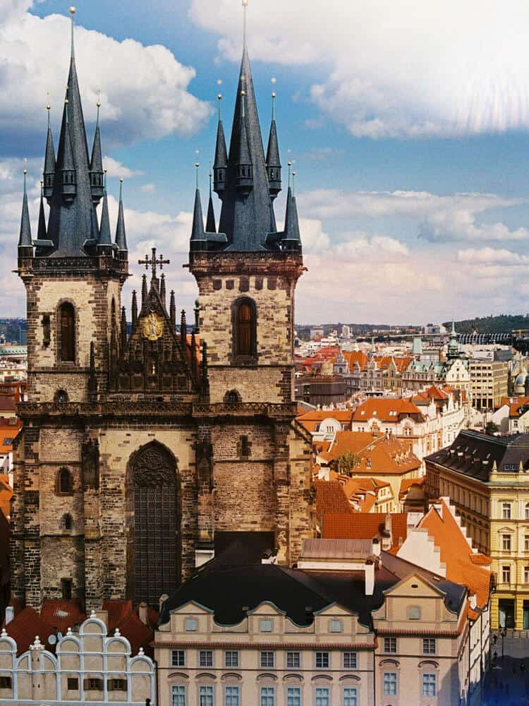 View of Church of our Lady before Tyn in Prague