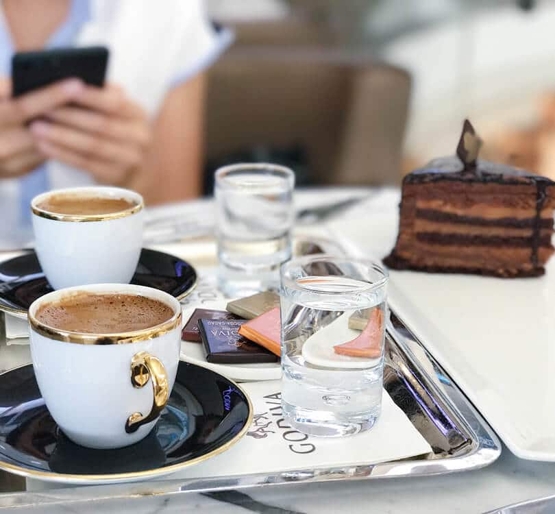 Coffee with chocolate cake in Vienna