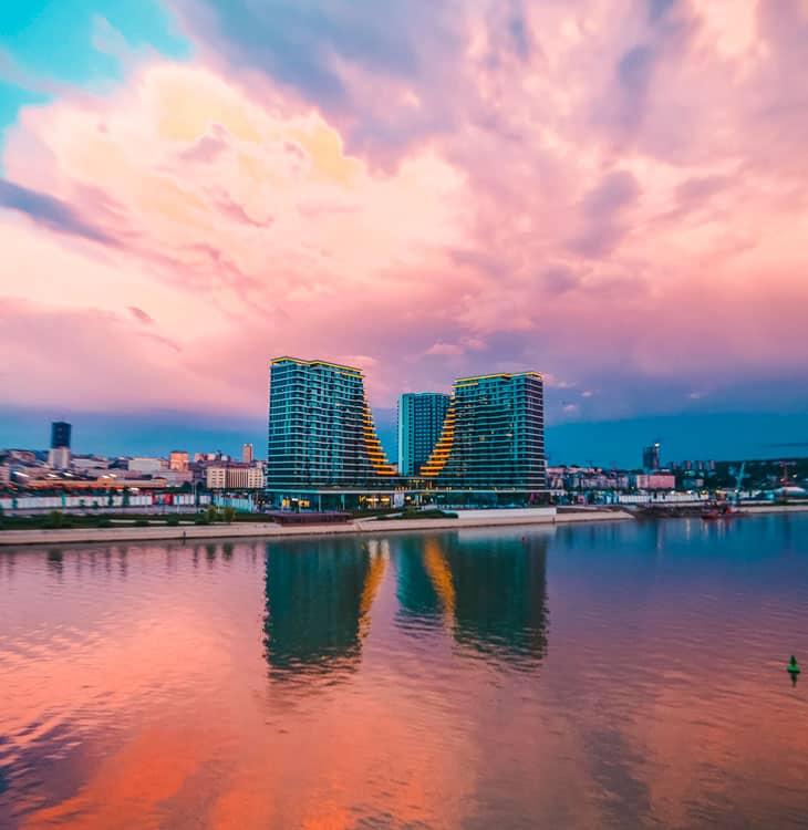 Pink sky with hotel in Belgrade