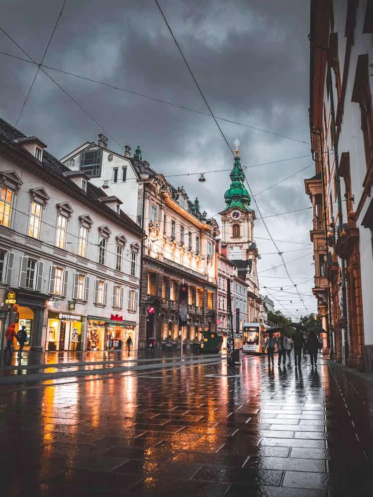 Rainy day at Main square in Graz