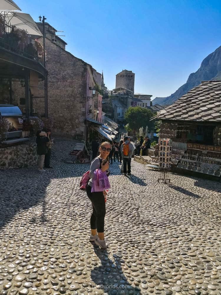 Girl posing at Mostar city center