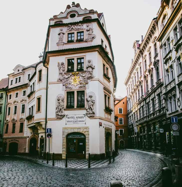 Old hotel in Prague old city center