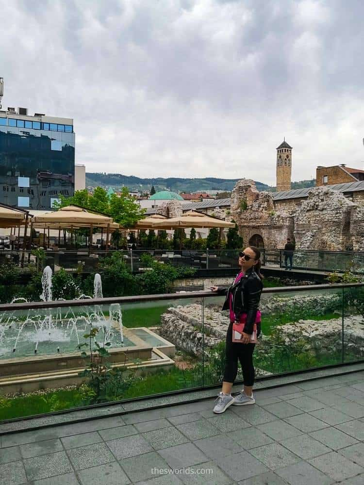 Girl looking at Old ruins in Sarajevo