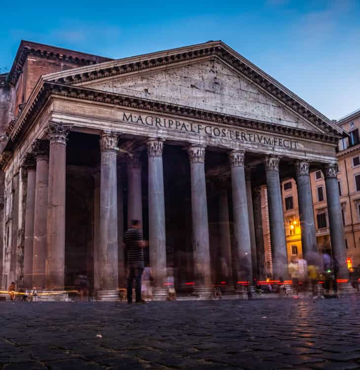 People standing in front of Pantheon in Rome