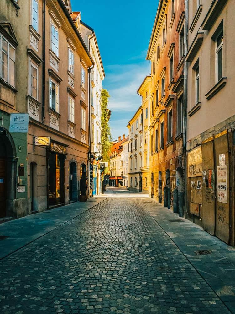 Empty streets of Ljubljana