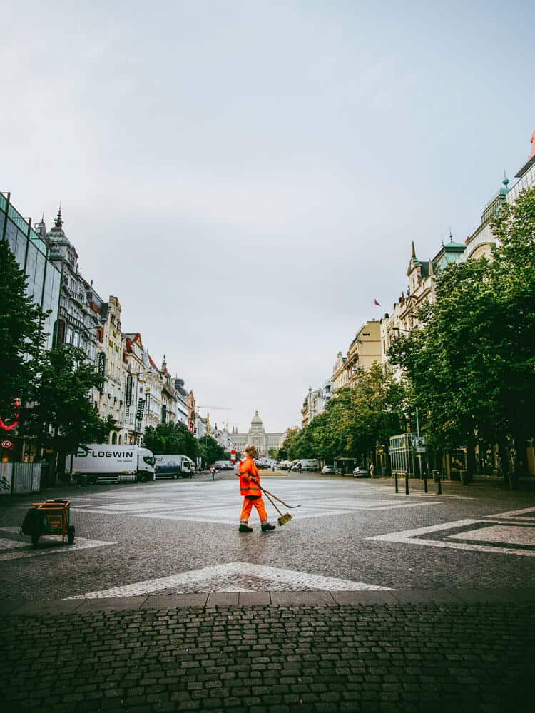 Person cleaning Wenceslas square in Prague