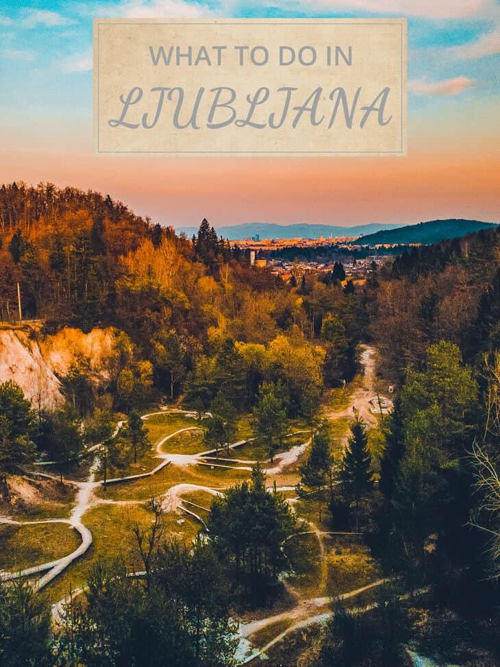 Aerial view of park in Ljubljana