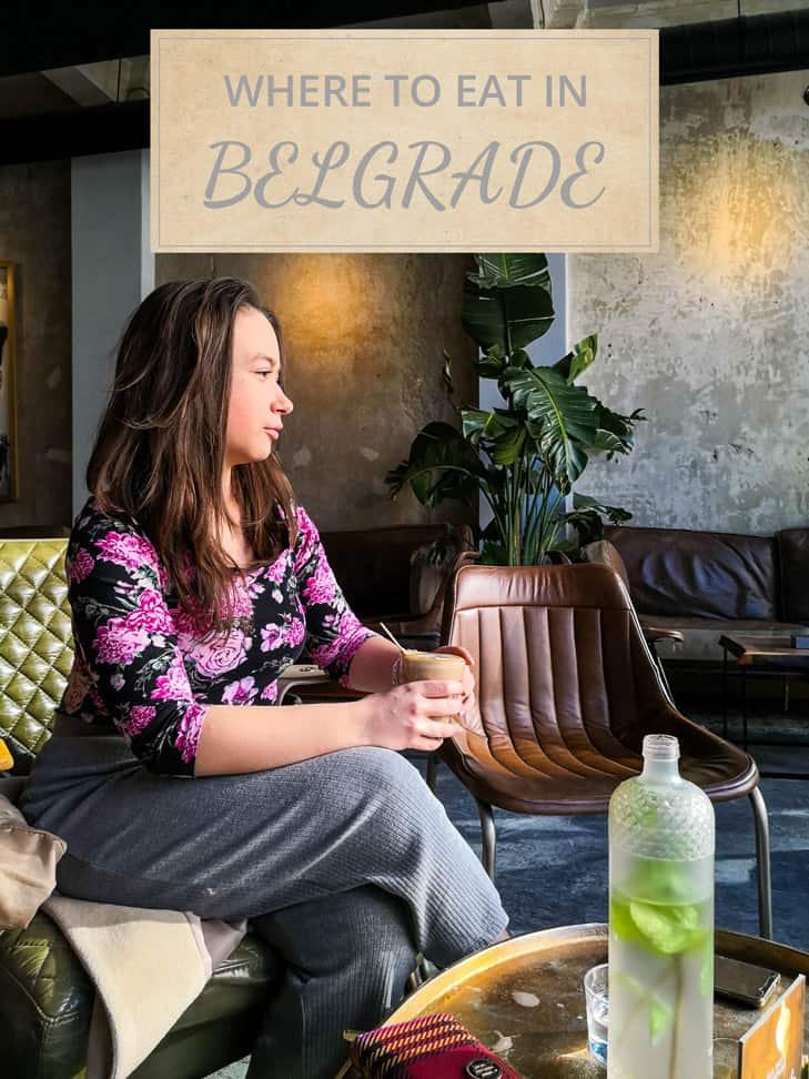 Girl drinking coffee at Belgrade cafe