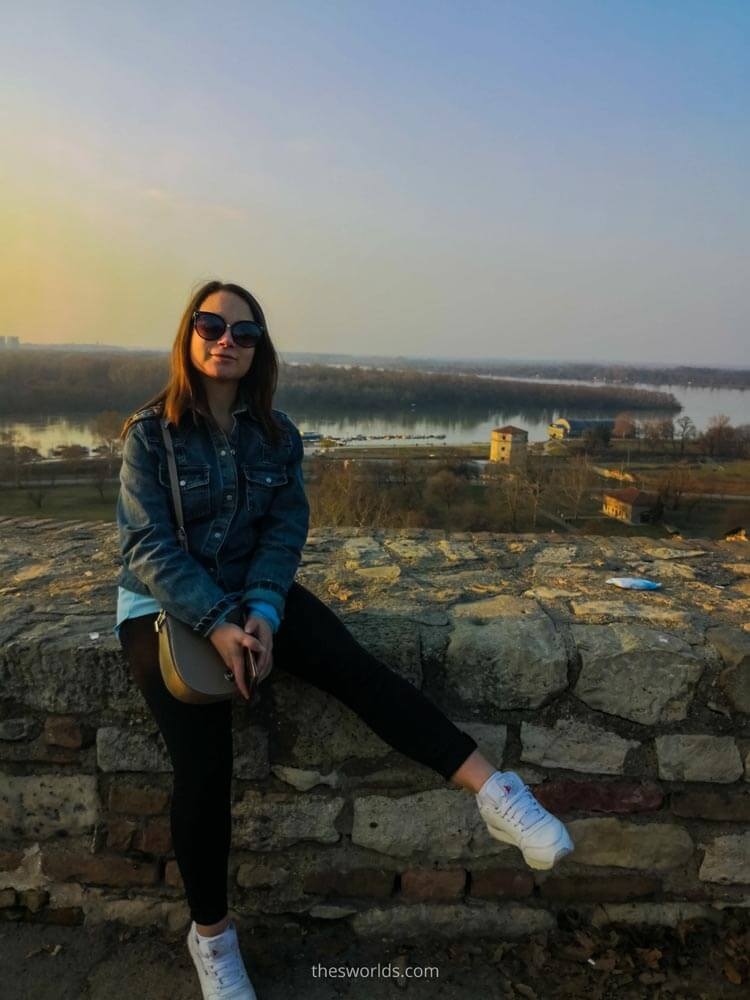 Girl sitting on a rock at Belgrade fortress
