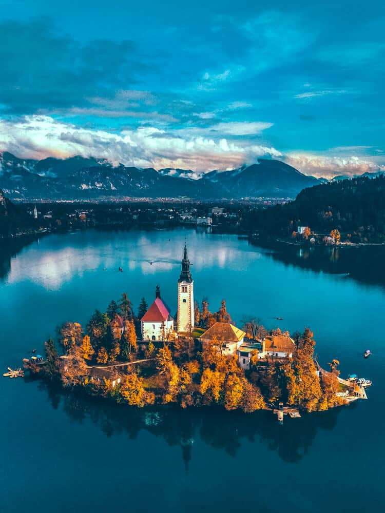 Aerial view of Bled Lake