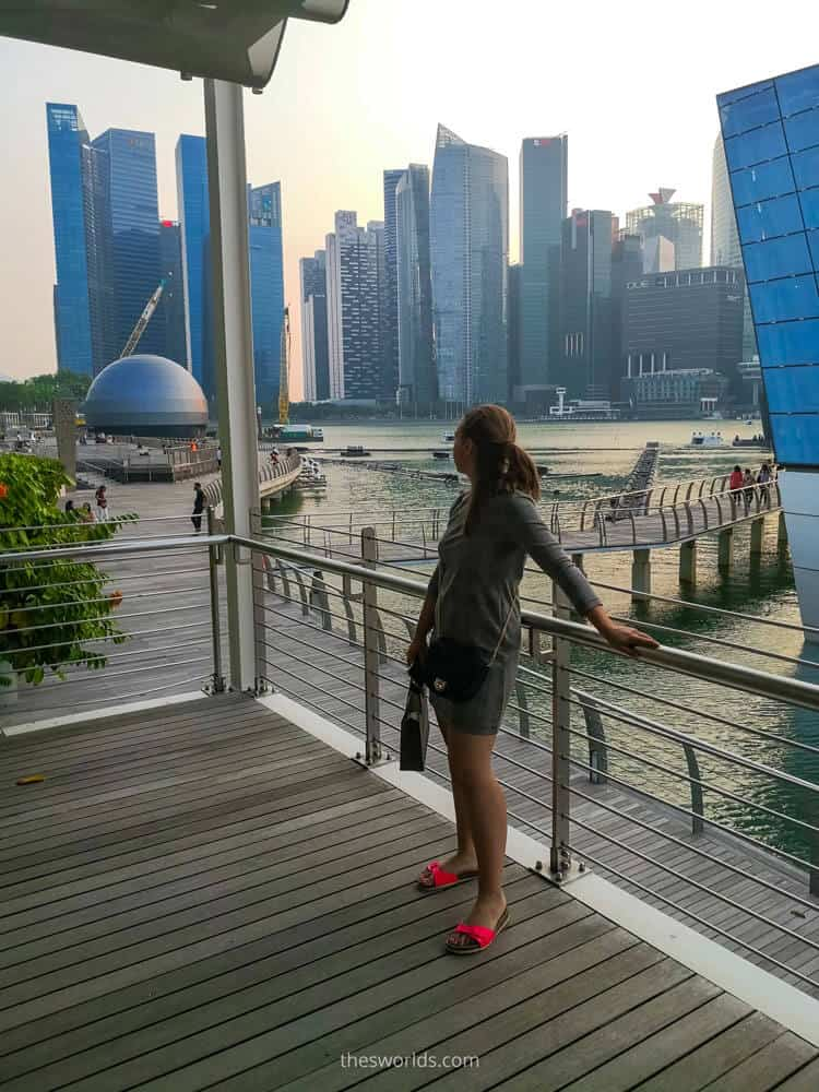Girl looking at Business center of Singapore