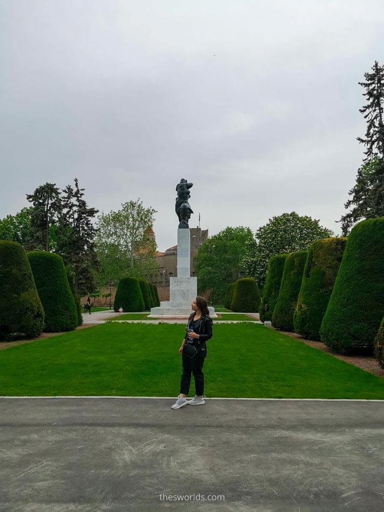 Girl posing at entrance to Kalemegdan park in Belgrade