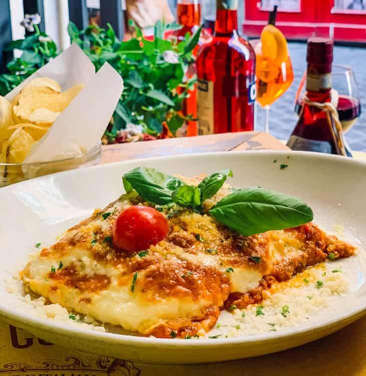 Eating lasagne in Rome