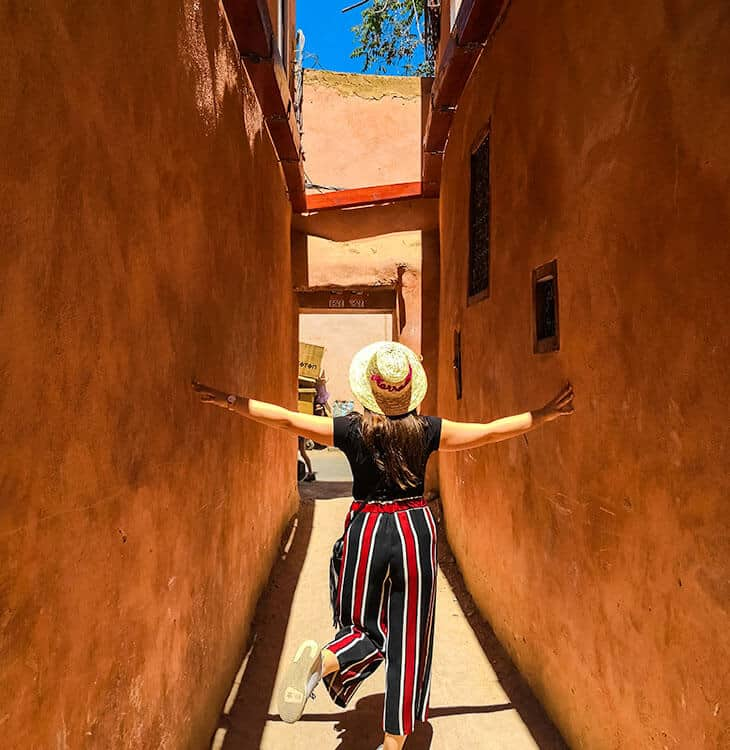 Girl standing in Marrakech old streets
