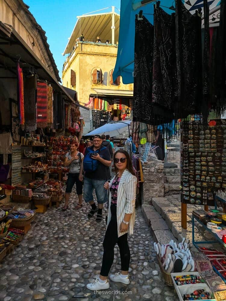 Girl posing in Mostar old city center