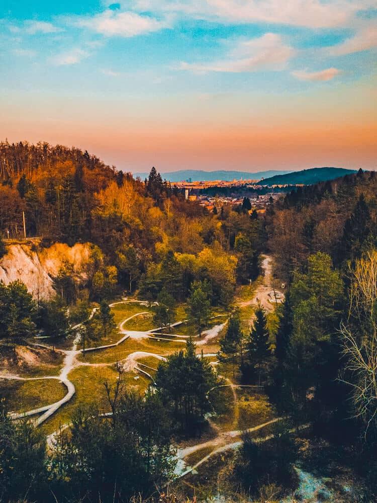Aerial view of nature in Ljubljana