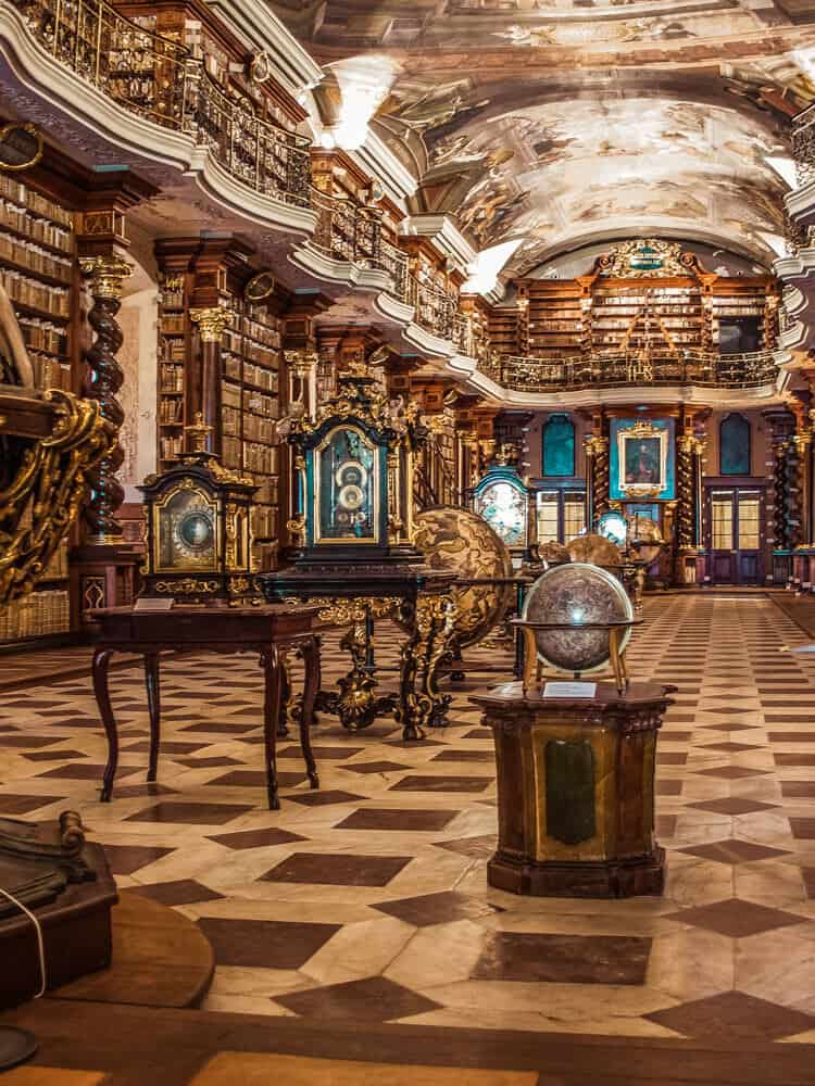 Inside view of Prague library