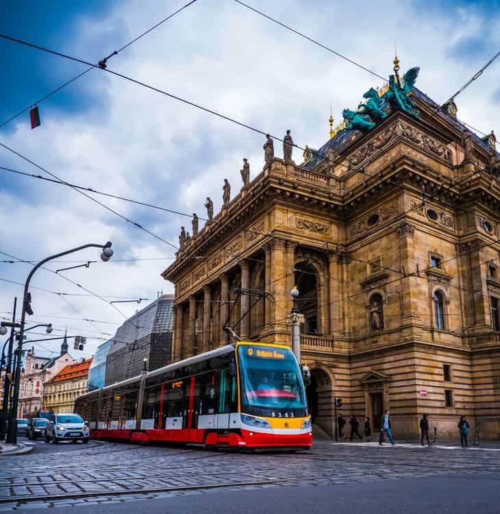 Tram passing by next to Prague National theater