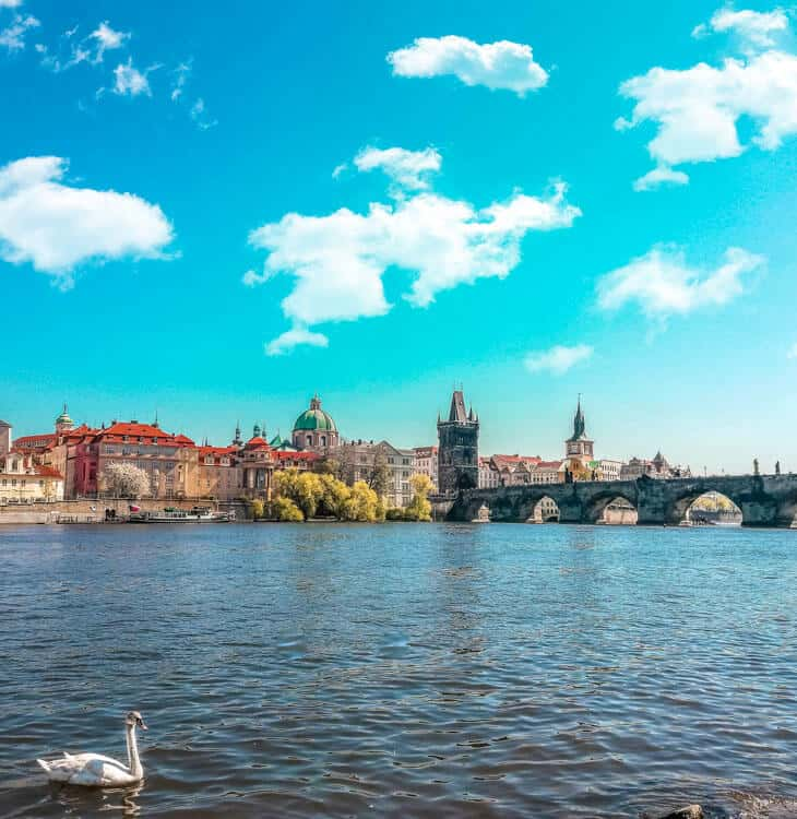 River view with Charles Bridge in background in prague