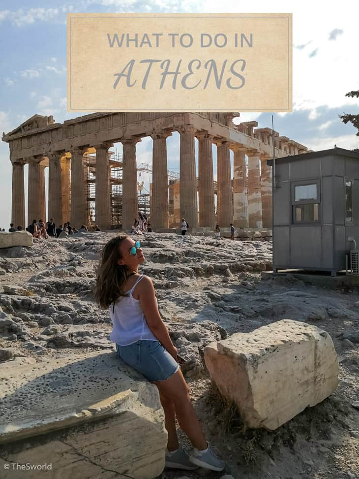 Girl sitting in front of Parthenon in Athens