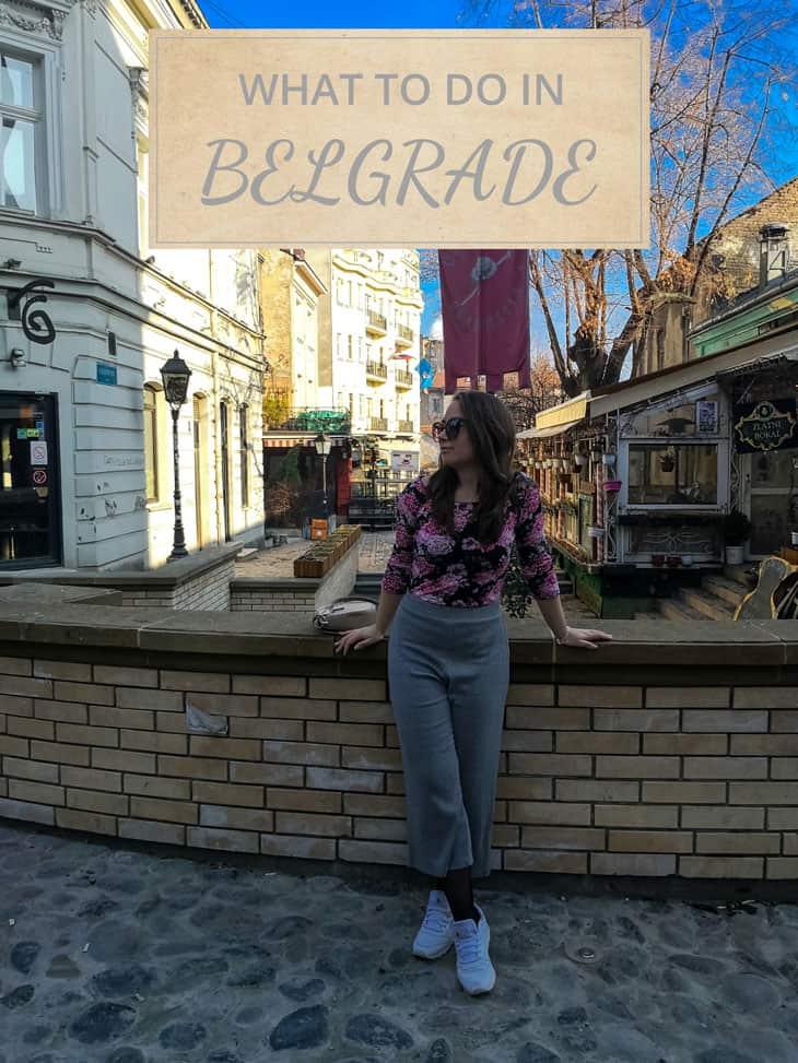 Girl standing in front of Skadarlija street in Belgrade