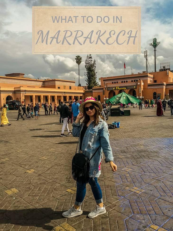 Girl standing in the middle of Medina of Marrakech
