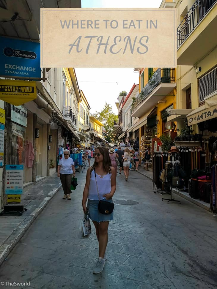 Where to eat in Athens with girl standing in the middle of the street