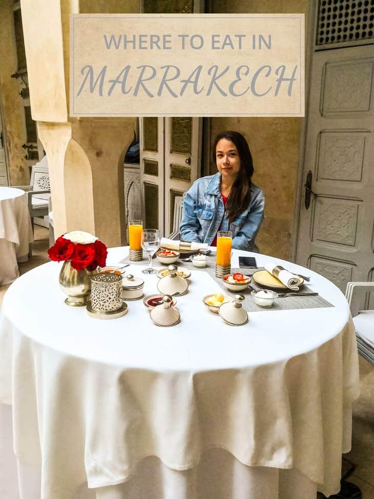 Girl having breakfast at Marrakech hotel