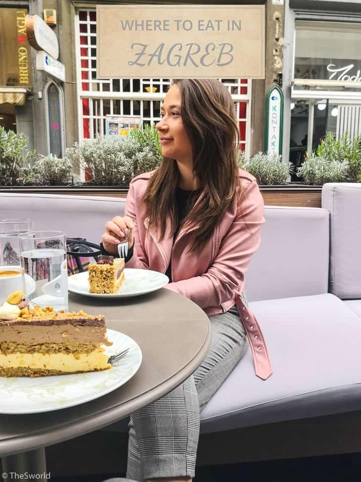 Girl eating cake in Zagreb