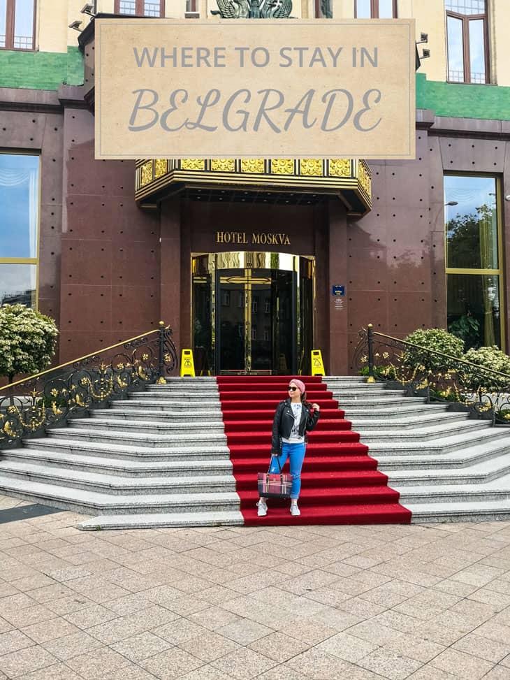 Girl standing in front of Hotel Moskva in Belgrade