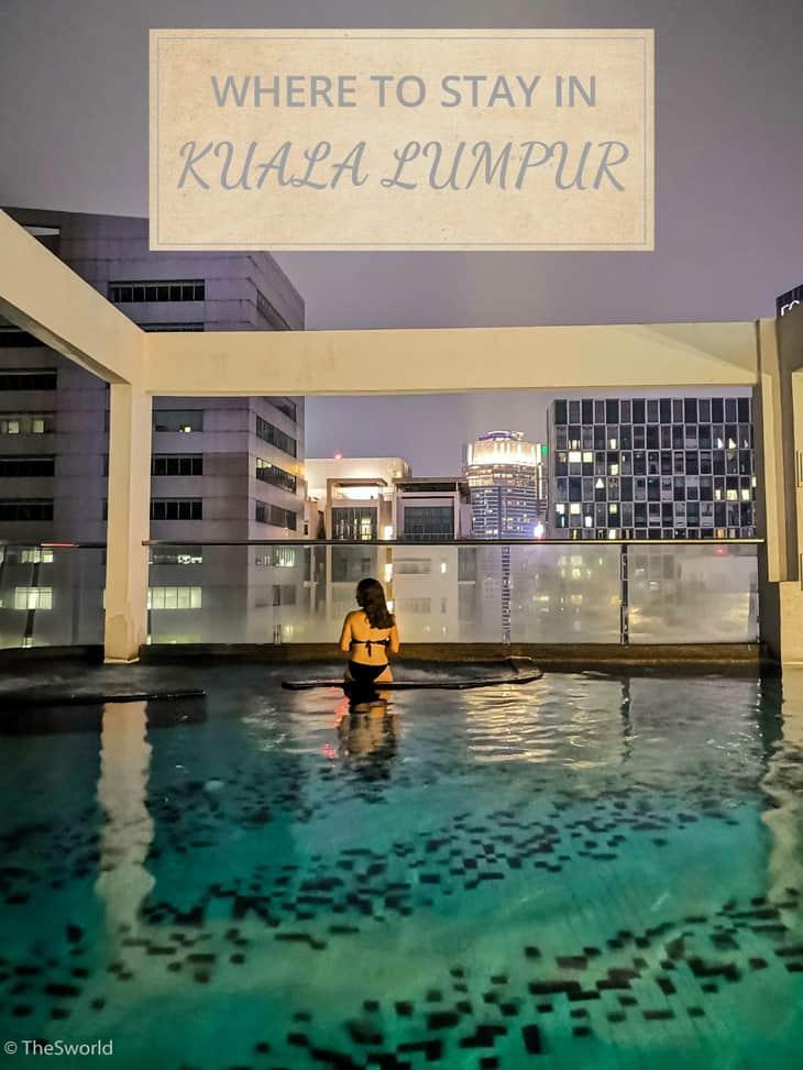 Girl having a swim at rooftop pool at Kuala Lumpur