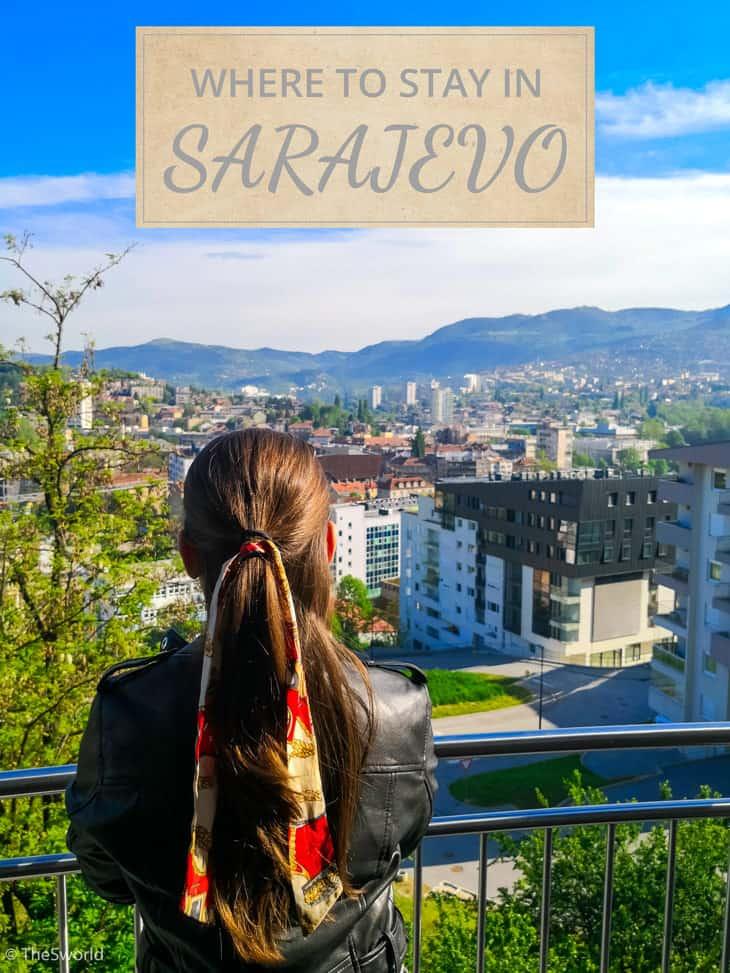 Girl looking at Sarajevo from balcony