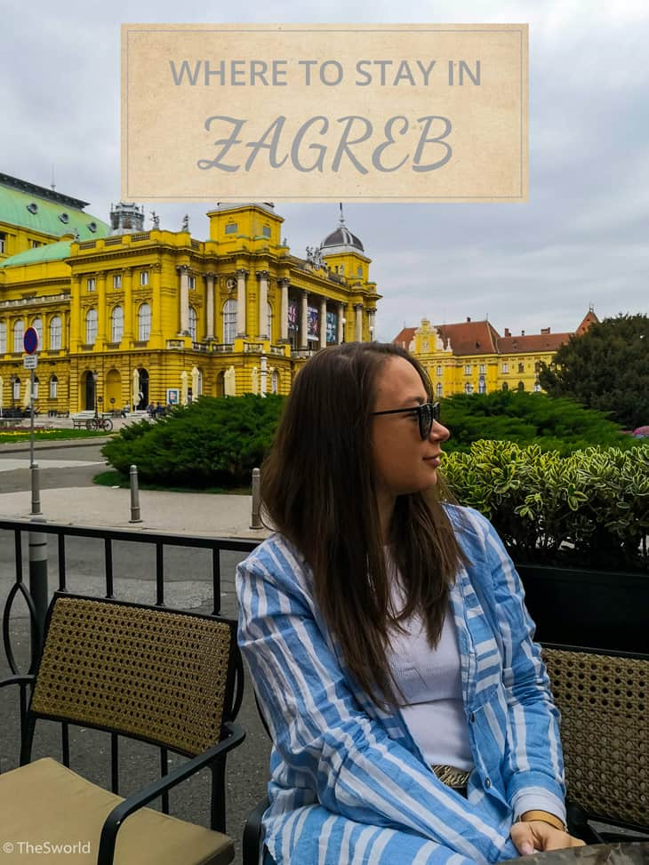 Girl sitting in front of Croatian National Theater in Zagreb