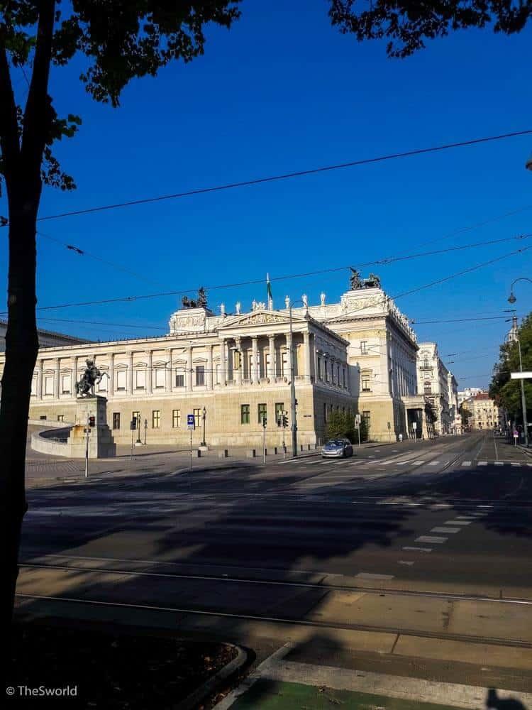 View of Austrian parliament building in Vienna