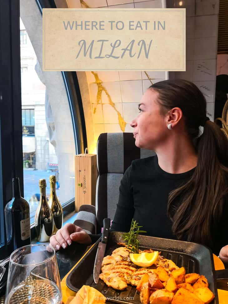 Girl eating food at restaurant in Milan