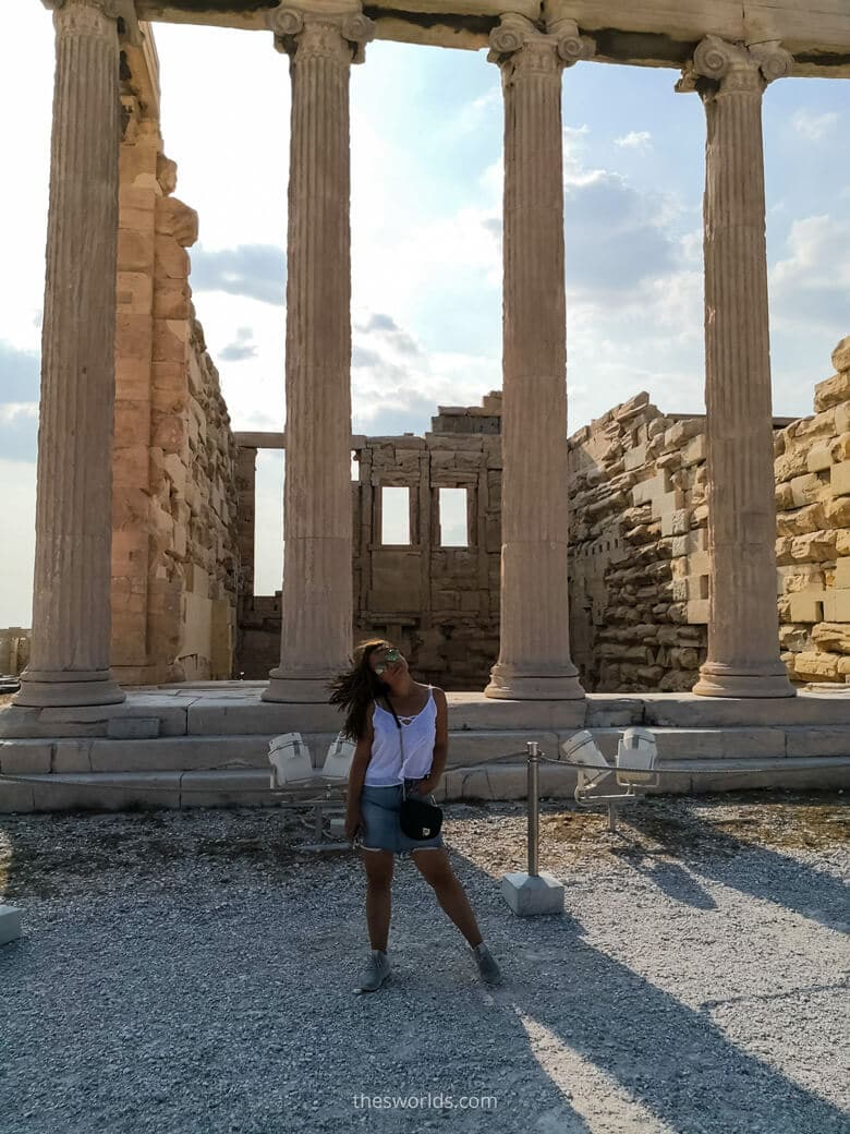 Girl posing in front of Ancient building in Athens