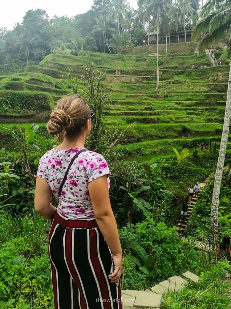 Girl looking at rice fields in Bali