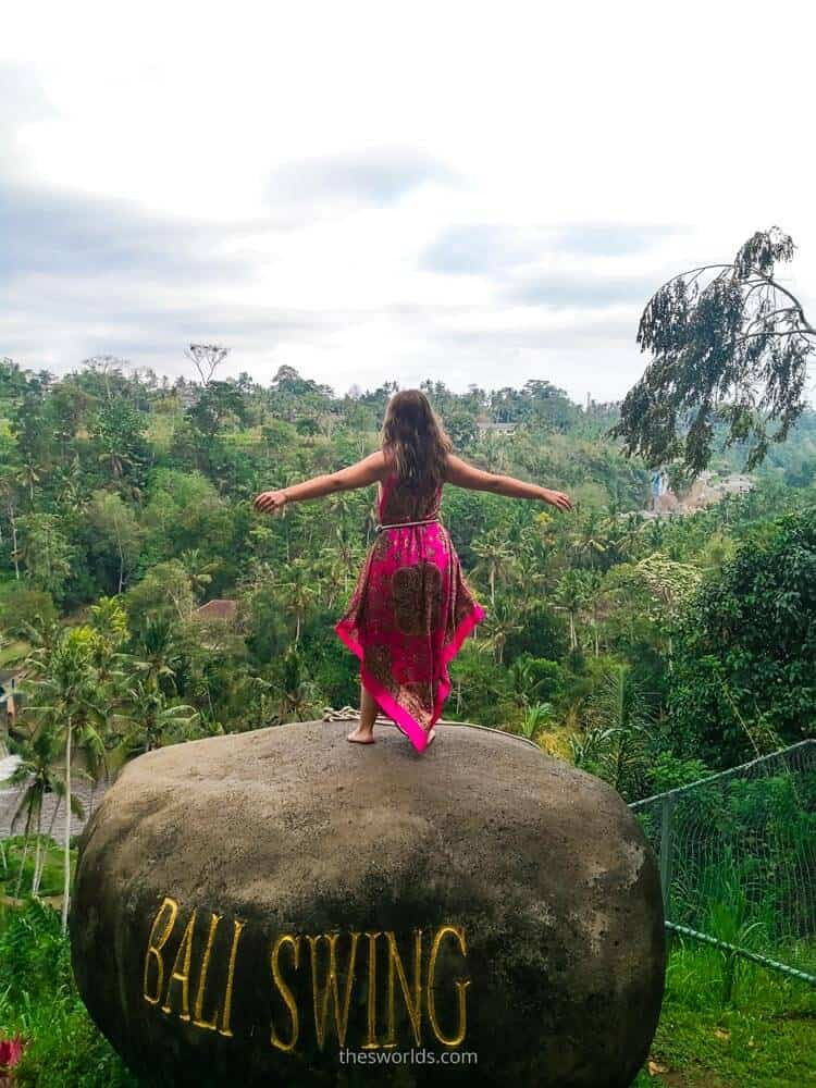 Girl standing on a rock at Bali Swing