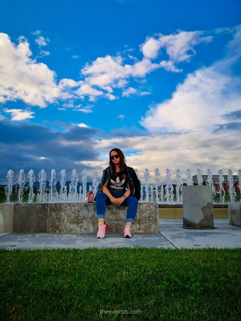 Girl posing in front of Bandic fountains in Zagreb