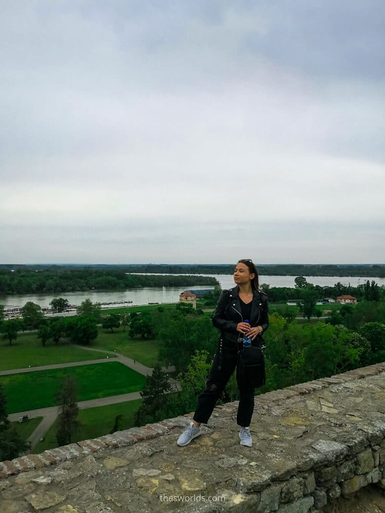 Girl standing at the rock at Belgrade fortress