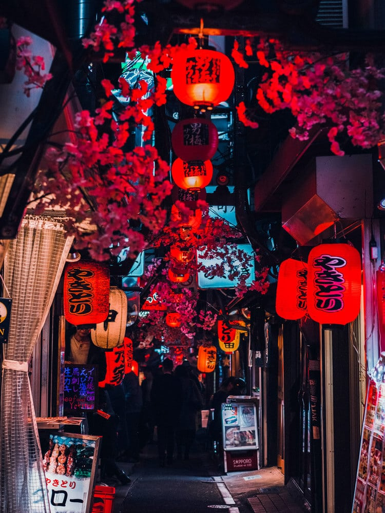 Chinese lamps in middle of street