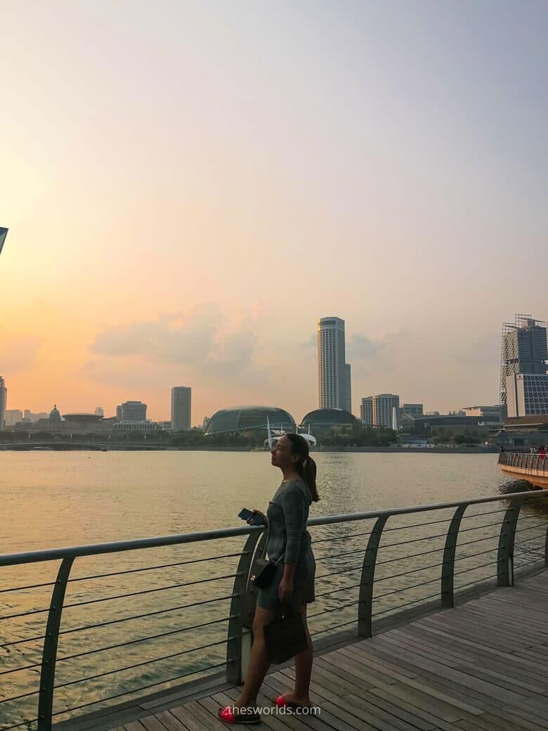 Girl posing while looking at city at Singapore