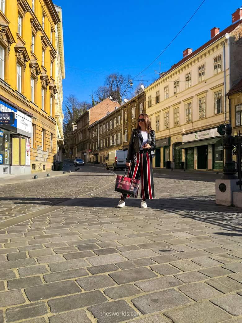 Girl posing at Ilica street in Zagreb