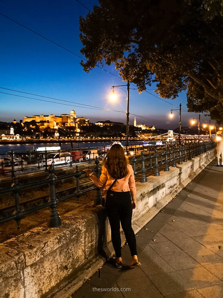 Girl looking at Buda castle at night