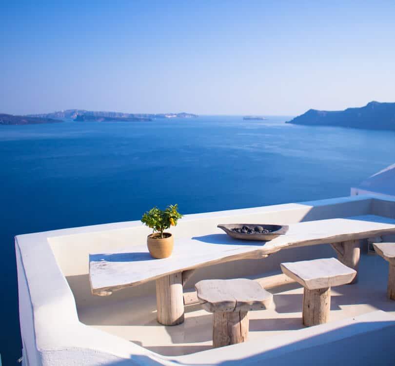 Ocean view from balcony in Greece